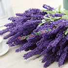 12 Heads Artificial Lavender Flower Leaves Bouquet Home Wedding Garden Decor