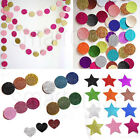 Glitter Metallic Stars Circles Hearts Party Banner Birthday Wedding Garland