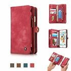 Magnetic Removable Leather CardCash Holder Zipper Wallet Case For iPhone Samsung