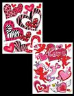 GLITTERED LOVE HEART WINDOW STICKERS CLINGS WALL DECOR VARIOUS PRINTED DESIGN