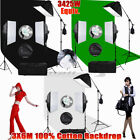 3X6m Green Screen Muslin Backdrop Studio 5 Head Softbox Lighting Boom Light Kit