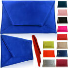 Large Flat Suede Envelope Women Clutch Bridesmaid Prom Party Ladies Evening Bags
