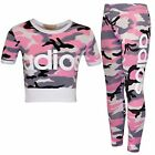 Girls Pink ADIOS Camouflage Crop Top & Legging Set Kids Outfit Age 7-13 Years