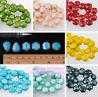 Lot 5/10pcs 14mm Opaque Hexagon Rondelle Flat Faceted Loose Spacer Glass Beads