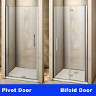 Frameless Pivot Bifold Shower Enclosure Door Glass Screen Panel 760 800 900 1000