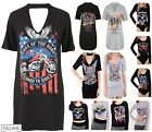 Womans Kings Of The Road Long T Shirt Party Mini Dress Vintage Rock Choker Top