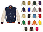 Genuine Leather Sleeve Letterman College Varsity Women Wool Jackets #CRS-OSTR-CB