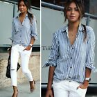 Women's Long Sleeve Striped T Shirt Button Down Casual Lapel Blouse Tops T-shirt