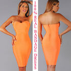 Womens New Sexy Neon Orange Elastic Bandage Dress Rayon Bodycon Hot