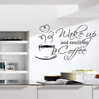 WAKE UP AND SMELL COFFEE Kitchen Wall Quote Art Transfers Sticker Cafe Gift