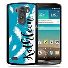 PERSONALIZED RUBBER CASE FOR LG G3 G4 G5 BLUE WHITE FEATHERS
