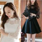 2017 Spring Korean Women Lace Dress New Fashion Lady Long Sleeve High Neck Skirt