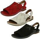 Ladies Clarks Sarla Cadence Black Or Red Nubuck Or Tan Leather Casual Sandals