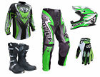 Adult Wulfsport ATTACK Motocross Pant Shirt Glove Helmet Boot Green Set #ATB17