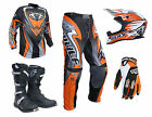 Adult Wulfsport ATTACK Motocross Pant Shirt Glove Helmet Boot Orange Set #ATB17