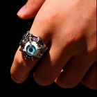 1x Evil Eye Biker Mens Ring Stainless Steel Cool Gothic Skull Dragon Claw Blue A
