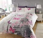 New Paris Romance Duvet Cover & Pillowcase Bedding Set Single Double King Latest