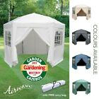 AirWave 3.5m Hexagonal Pop Up Gazebo 6 Side Panels Garden Gazebo - 5 Colours