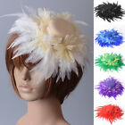 women handmade flower feathers fascinator hair clip large hat wedding party gift