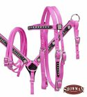 Showman PONY Size 2 Ply Nylon BLING Bridle Breast Collar & Reins SET