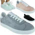Ladies Running Lace Up Faux Suede Trainers Womens Fitness Gym Sports Shoes Size