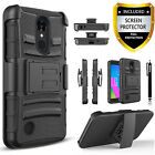 LG Aristo / LG LV3 Case, Dual Layers Belt Clip + Screen Protector+Stylus Pen