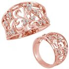 0.15 Ct G-H Diamond Lovely Classy Fancy Flower Design Ring Band 14K Rose Gold