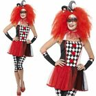 Harlequin Jester Costume - Womens Fancy Dress Halloween Twisted Evil Clown S M L