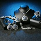 Vintage Jewelry Set Round CZ Sapphire Flower Earrings Bracelet Necklace Ring NEW