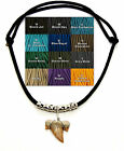 Fossil Shark Tooth Adjustable Paracord Silver Necklace 12 Color Choices #7195 S