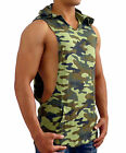 MENS CAMO HOODED SLEEVELESS TANK TOP DEEP MUSCLE BODYBUILDING GYM ARMY MILITARY