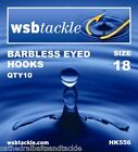 WSB Barbless Eyed Hooks Sizes 6-16 Carp Coarse Fishing Tackle