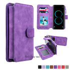 Genuine Leather Zipper Wallet Card Case Cover Multifunction For iPhone Samsung