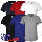 T Shirts Baseball Jersey Uniform Plain Short Sleeve Button Team Sports Mens Kid image