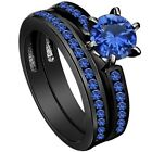 4-12 Black Wedding Ring Engagement Solitaire Blue Crystal Anniversary Eternity