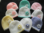 PACK 2 HANDCROCHETED BABY HATS-TINY/NEWBORN/EARLY+ BABY DOLLS..Approx 5-7lbs
