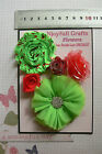 RED & LIME GREEN Fabric Organza Satin - 5 Flower Pk 25-70mm Njoyfull Crafts T
