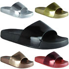 WOMENS LADIES COMFY SHINY PLAIN RUBBER SLIDER FLATS SHOES SLIDES SLIPPERS SIZE