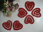 "6 pc Cotton Hand Crochet Small Heart Shape Applique 2.75""-3.25"" Craft Mini Doily"