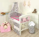STARS ON GREY/PINK  BABY BEDDING SET + MORE DESIGNS COT or COT BED 2,3,4,5,7+ pc