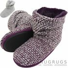Ladies / Womens Knitted Style Boots / Bootie Slippers with Button Feature