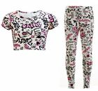 Girls Graffiti Print Crop Top & Legging Set Outfit Kids Clothes 7-13 Years