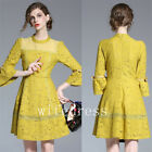 Yellow Lace Women's Stand Collar Dresses 3/4 Trumpet Sleeve Long Gowns A Line