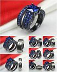 Ladies Black 925 Silver Blue Princess Engagement Wedding Ring Mens Titanium Band