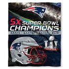 NEW ENGLAND PATRIOTS 5x SUPERBOWL  CHAMPIONS  SILK TOUCH THROW 50 X 60