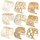 Hot Lady Luxury Hollow Gold Plated Big Wide Mesh Open Cuff Bangle Bracelet