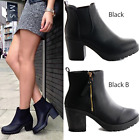 LADIES WOMENS BLACK BLOCK HIGH HEEL ZIP CHELSEA ANKLE BOOTS SHOES SIZE 3-8
