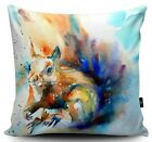 FORMBY RED SQUIRREL DESIGNER CUSHION  DIGITALLY PRINTED FAUX SUEDE CUSHION