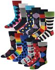 12 Pairs Men's Colorful Funky Design Fashion Premium Cotton Dress Socks