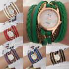 New Women's Hand-Woven Three Laps Gold Plated Quartz Glass Mirror Wristwatch